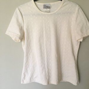 Eyelet T-shirt  in a buttery cream color